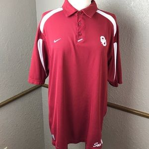 Oklahoma Sooners University OU Nike Fit Polo Sz L